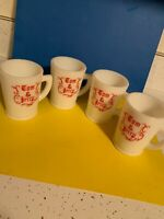 FOUR  VINTAGE McKEE  TOM AND JERRY  PUNCH BOWL CUPS  WHITE MILK GLASS