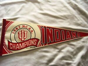 Red And White Pennant Vintage Indiana College Pennant 1960s Rose Bowl Pennant Indiana Rose Bowl Fighting Hoosiers Felt Pennant