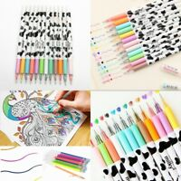 12Pcs Set Mixed Color Painting Gel Pen School Supplies Draw Pens Student Gifts