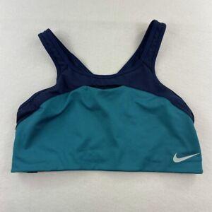 Nike Dri Fit Sports Bra Womens Size XL Blue Yellow White Swoosh Gym Running