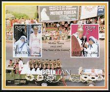 BHUTAN MOTHER TERESA  WITH PRINCESS DIANA & POPE JOHN PAUL II IMPF  S/S  MINT NH