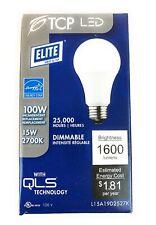 TCP Elite Dimmable LED Light Bulb A19 15W = 100W 2700K Soft White 1600lumens