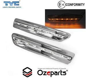Pair / Set LED Guard Flasher Light Lamp Chrome For Chevy Chevrolet Caprice 06~17