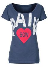 Rainbow Damen T-Shirt bedruckt Kurzarm Shirt Top Tunika Bluse dunkelblau 917375