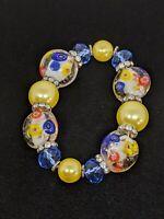 Artisan Yes Glow Glass Flower Lampwork Stretch Bracelet