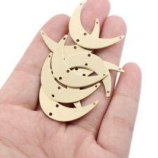 20Pcs Raw Brass Crescent Moon Charm Connectors Pendants DIY Jewellery Findings
