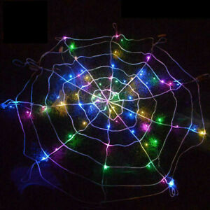 Halloween Props LED Spider Web Outdoor Party Light Up Cobweb Lighting Decor