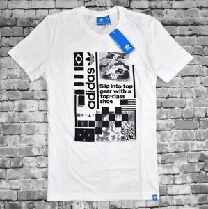 "Adidas T-Shirt "" G Mashup Garçons Logo Adidas Dassler Retro Blanc/Noir"