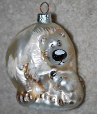 "Polar Bear Handblown Glass Christmas Ornament 4"" Holiday Bears"