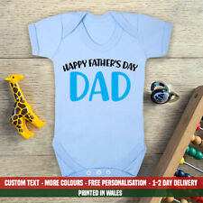 Happy Fathers Day Dad Blue Baby Vest New First Daddy Son Grandson Gift Idea