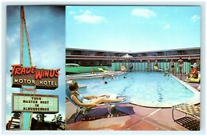 VINTAGE TRADE WINDS MOTOR HOTEL ALBUQUERQUE NM POSTCARD HWY ROUTE 66 1A24