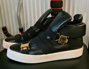 Giuseppe Zanotti Herren Designer Luxus Sneaker Leder Schuhe Schwarz Gold Weiß 43