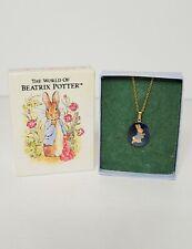 Beatrix Potter Peter Rabbit Enamel Pendant Necklace Signed Fish and FW&Co NIB