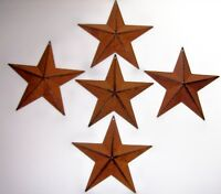 "SET OF 5 Rust  BARN STARS 5.5"" Tin PRIMITIVE COUNTRY AMERICANA WALL HANG 5 point"