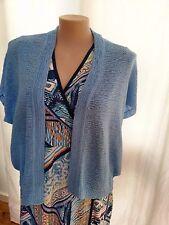SUZZANNEGRAE Blue short sleeve cardigan bolero jacket size XXL 18 20 NEW