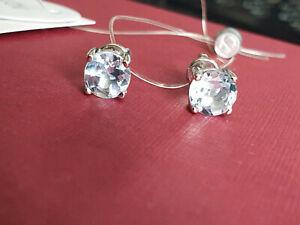 Silver 925 round 6mm light blue topaz stud earrings SOKOLOV jewelry NWT 1,74g