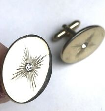 Vintage Men's Cuff links Gold Tone Star burst Swank signed Rhinestone Oval