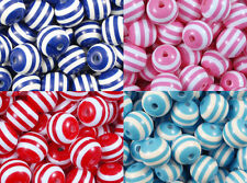 Resin Beads 14mm Round Striped FOUR COLOURS Lucite 12x