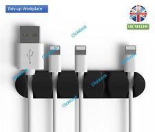 Enrollador De Cable Negro Cable de Mesa de administración de Organizador Soporte De Enchufe dispositivo de almacenamiento Reino Unido
