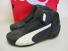 Puma Flat 2 v2 - Size 7.5 US - Black w/ White Motorcycle Shoes - CLOSEOUT