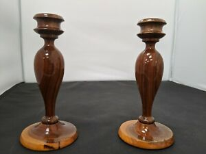 Two Australian Mulga Wood Carved Candlesticks Solid Hardwood 16cm #SH-FC14 GA528