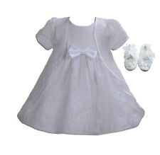 Girls Christening Party Dress Cape and Shoes White Ivory 0 3 6 9 12 18 Months