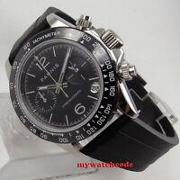 soild 39mm PARNIS Black dial sapphire glass date Chronograph quartz mens watch