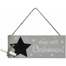 New Grey Star Christmas Snowflake Chalkboard Countdown Hanging Sign Plaque