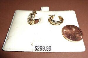 Small 10K Yellow Gold Fancy Cut Hoop Earrings