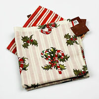 Christmas Candy Canes Holly Reversible Stripe Cotton Napkins Set of 4