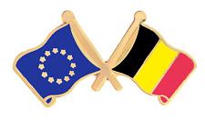 Belgique & Union Européenne Eu Drapeau Amitié Courtoisie Plaqué or Broche Badge