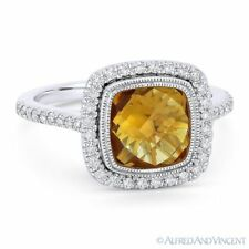 Halo Right-Hand Ring in 14k White Gold 2.68ct Cushion Cut Citrine & Diamond Pave