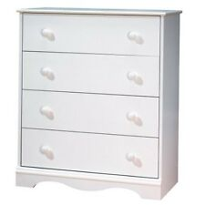 White 4 Drawer Bedroom Chest with Wooden Knobs