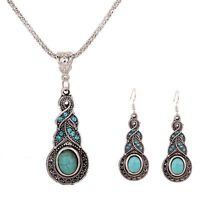 Fashion Jewelry Sets Tibetan Silver Turquoise Crystal Pendant Necklace Earrings