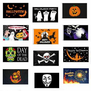 HAPPY HALLOWEEN & BONFIRE NIGHT FLAGS 5' x 3' Guy Fawkes Vampire Pumpkin etc