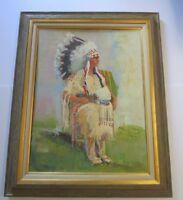 CHEEK LARGE NATIVE AMERICAN INDIAN PAINTING PORTRAIT CHIEF HEADDRESS VINTAGE