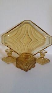 1960's Vintage Art Deco 4 Piece Yellow Glass Dressing Table Set (Trinket Box)