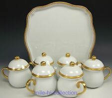 BEAUTIFUL OLD PARIS FRANCE ROSES POTS DE CREME SET OF 6 WITH TRAY
