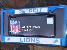 1 Detroit Lions Blue Metal Vehicle License Plate Frame Nice Raised Graphics