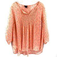 Torrid Sheer Top Blouse Shirt Size 2 2X Peach Floral Print 3/4 Sleeve Pintuck