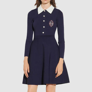 Sandro Polo Shirt Collar Knitted A Line Flared Skirt Long Sleeve Dress £209 Navy