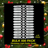BULK 500 Pack Gutter Hooks / Clips for Hanging Christmas Lights String Fairy