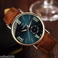 Fashion Men's Date Leather Stainless Steel Sport Quartz Noctilucent Wrist Watch
