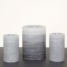 "Gray Pillar Candles - Set of 3, 1 @ 3 x 4"" & 2 @ 2 x 3"" -Rustic Layered Fade"