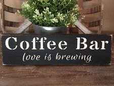 Rustic Wood Sign COFFEE BAR Love is Brewing Home Decor Kitchen Farmhouse Java