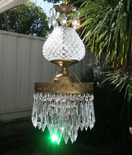Vintage Swag brass tole Fenton Art Glass Crystal Lamp prism dining room light