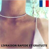 Collier Ras Du Cou Strass Cristal Chaîne Extension Femme Bijoux Cadeau Mode