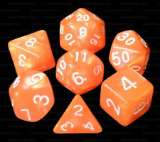NEW 7 Piece Polyhedral Dice Set - Ember's Glow Orange Marble - Brown Dice Bag
