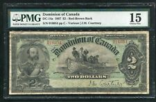 "Dc-14a 1897 $2 Dominion Of Canada Banknote ""Red-Brown Back� Pmg Fine-15 *Rare*"