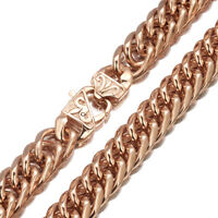16mm Men Boy Rose Gold Stainless Steel Heavy Wide Curb Cuban Chain Necklace